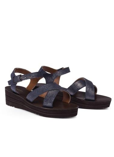 Deery Hakiki Deri Sandalet Lacivert